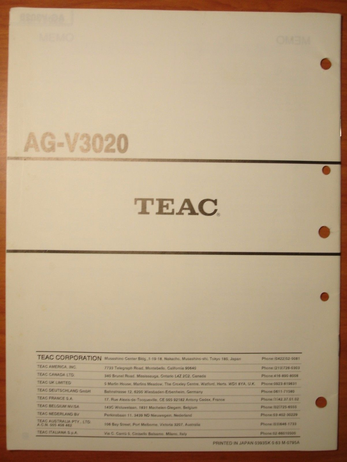 Teac Service Manual V-770/V-2020S/CD-P3100&4100/AG-V3020/supp